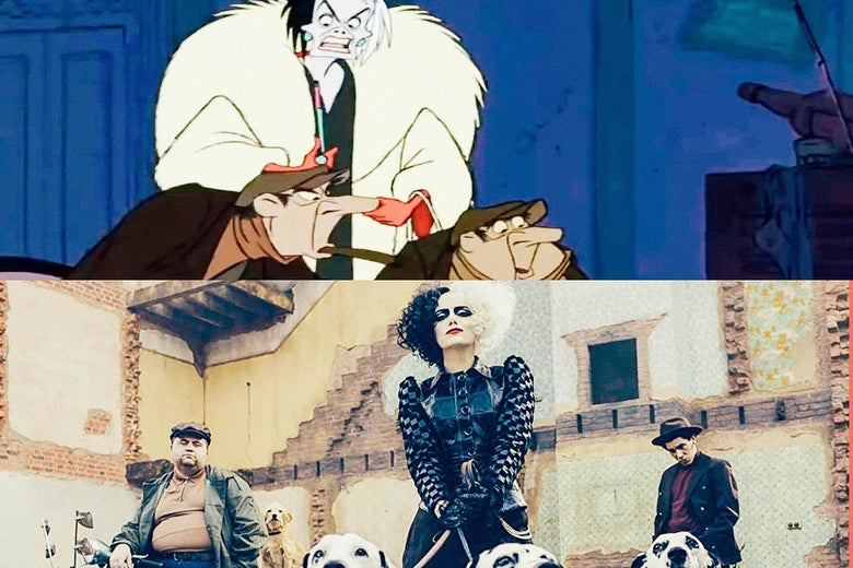 on top, a still image of cruella and her henchmen in the animated film, and on the bottom, an image of the trio in live-action form