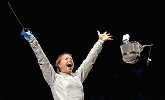 Olga Kharlan of Ukraine celebrates victory