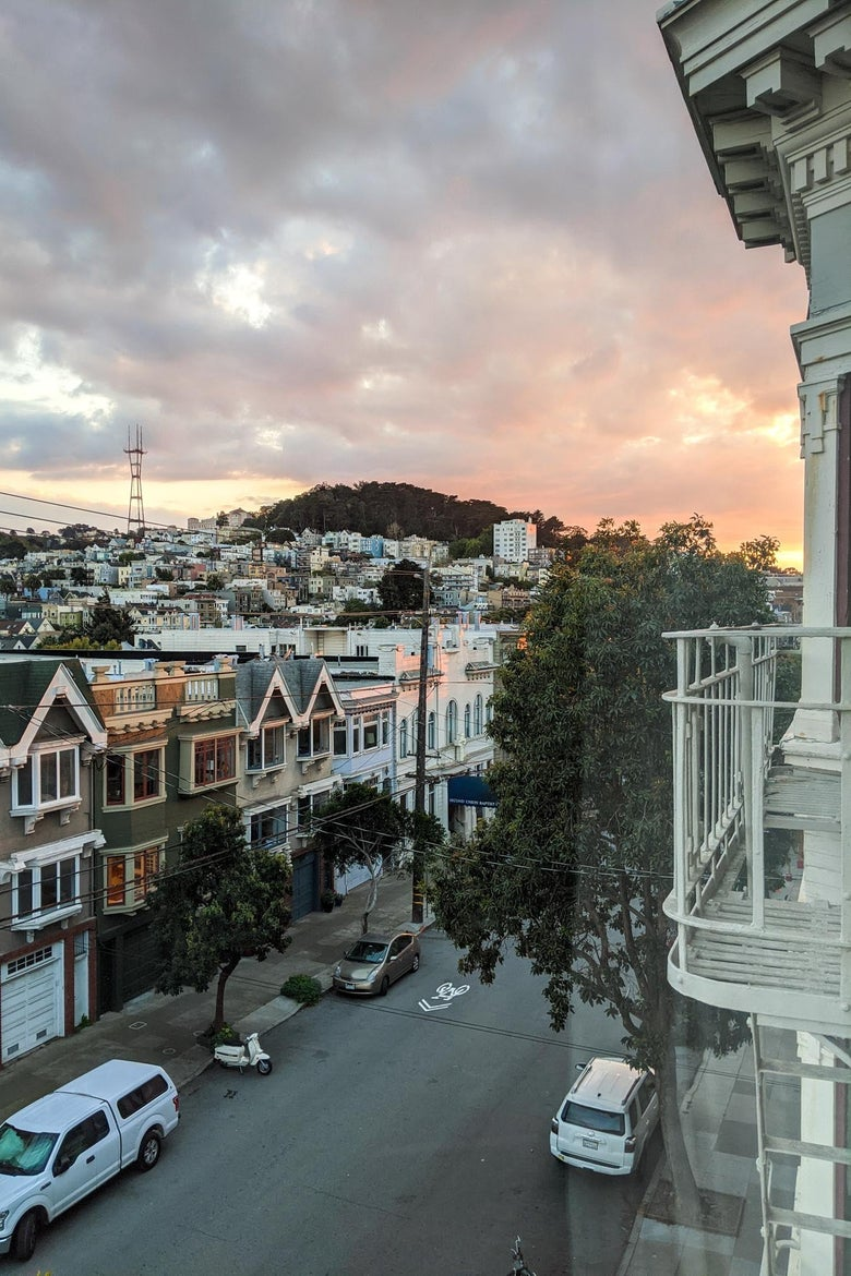 View of sunset over hills of San Francisco.