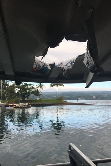 The hole punctured in the boat's canopy