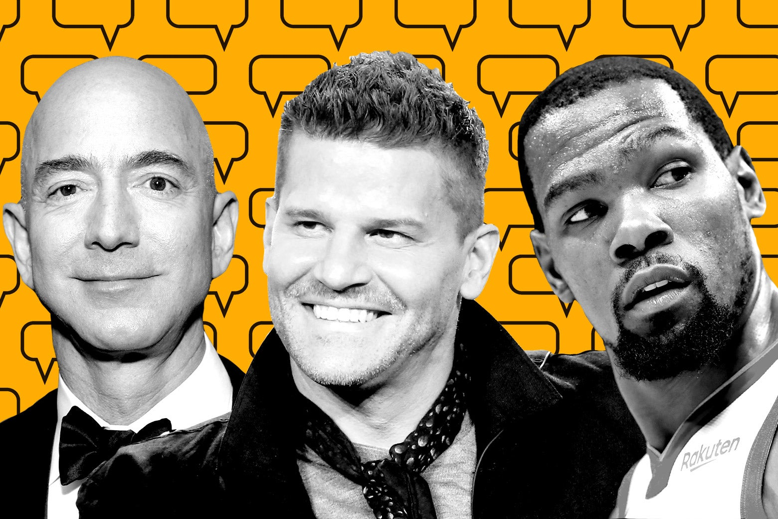 Photo illustration of known sexters Jeff Bezos, David Boreanaz, and Kevin Durant
