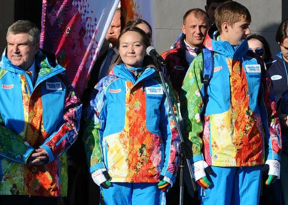 IOC President Thomas Bach at the unveiling of the official uniform of 2014 Olympics volunteers.