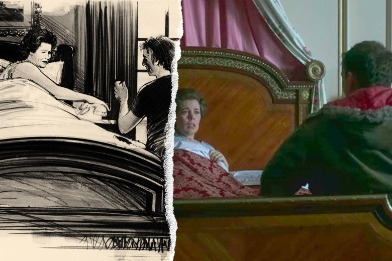 A drawing of Michael Fagan in the queen's quarters, and the scene as depicted in The Crown