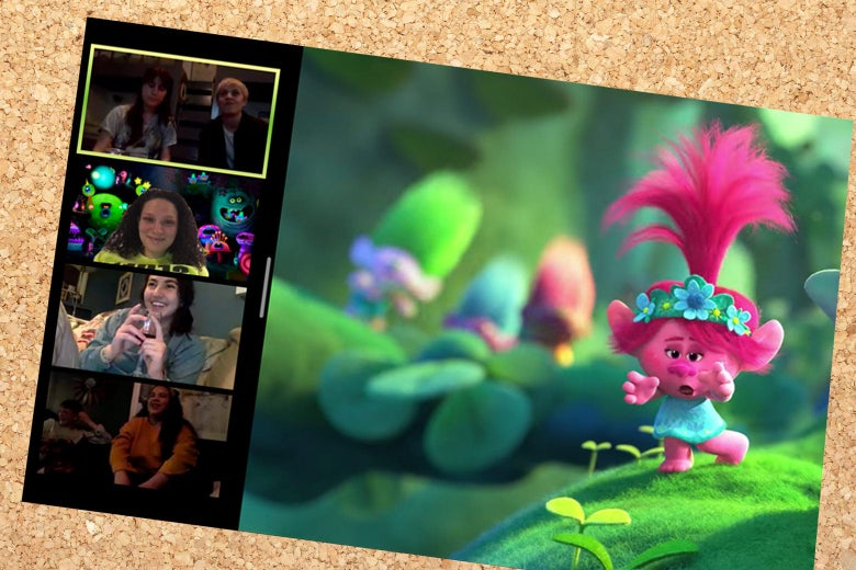 Leora and her friends watching Trolls on zoom.