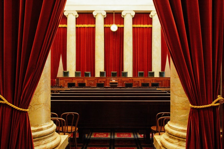 An interior view of the courtroom of the U.S. Supreme Court.