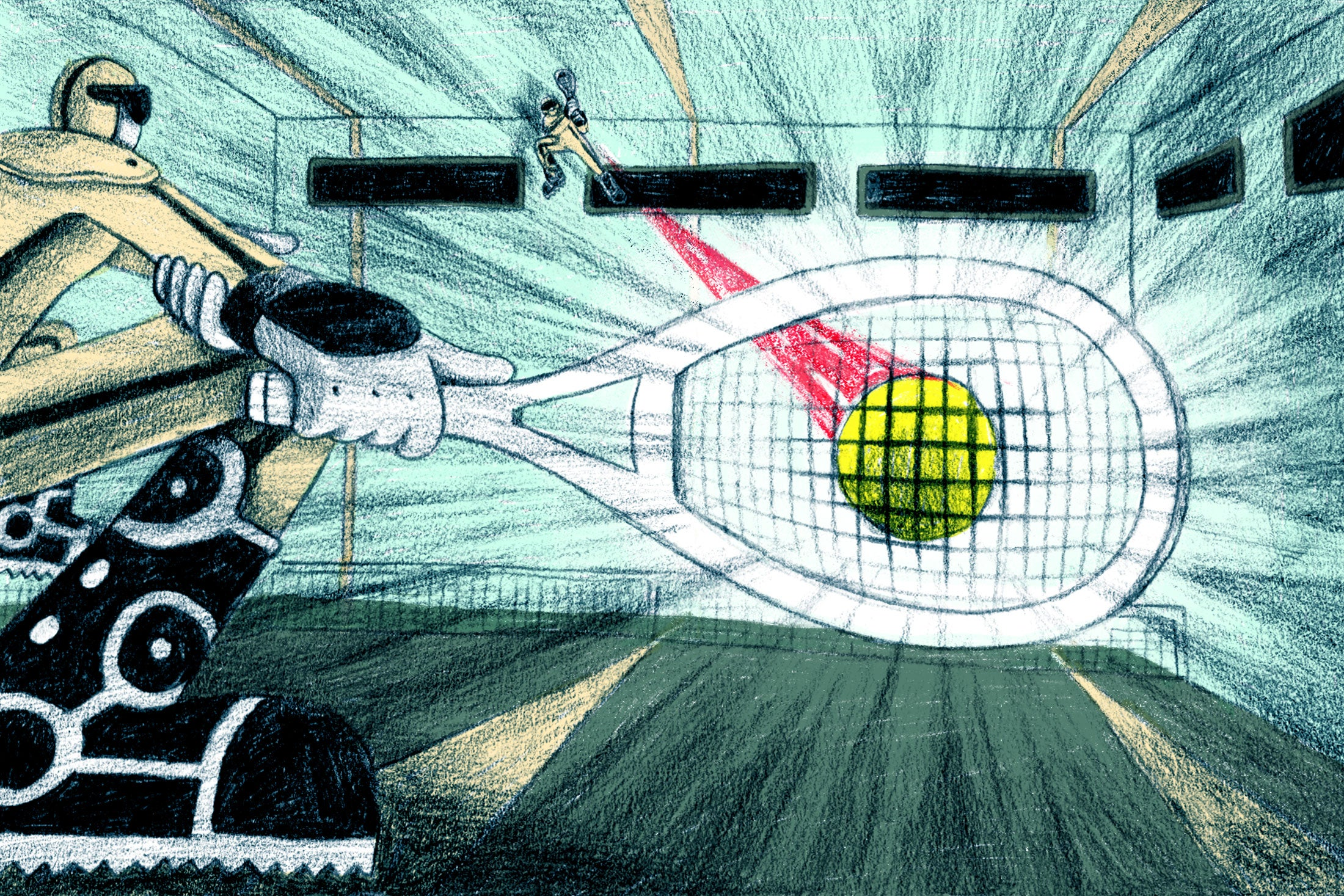 Illustration of a FogoTennis match involving high-velocity swings.