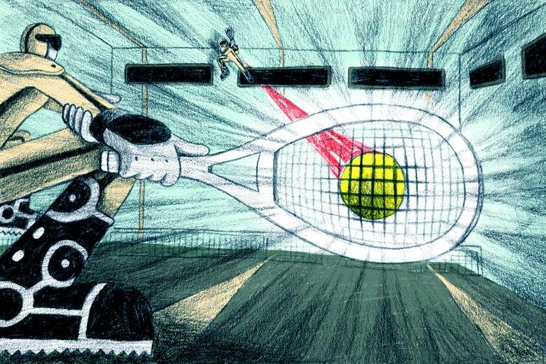 Illustration of a FogoTennis match involving high-velocity swings.