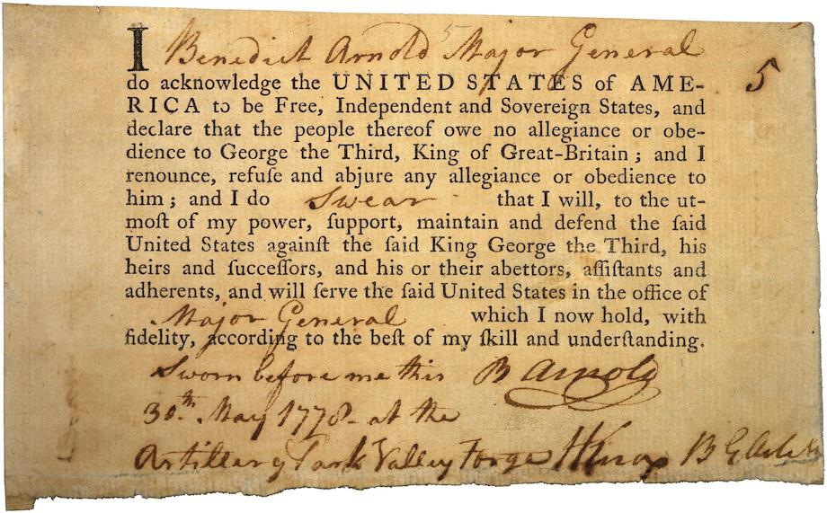 Benedict Arnold's loyalty oath