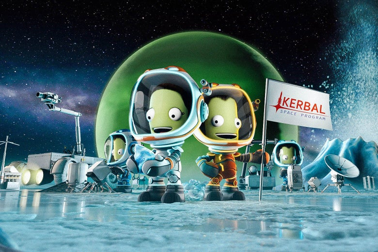 Kerbal Space Program cover: Four Kerbals are on another planet or heavenly body working on science