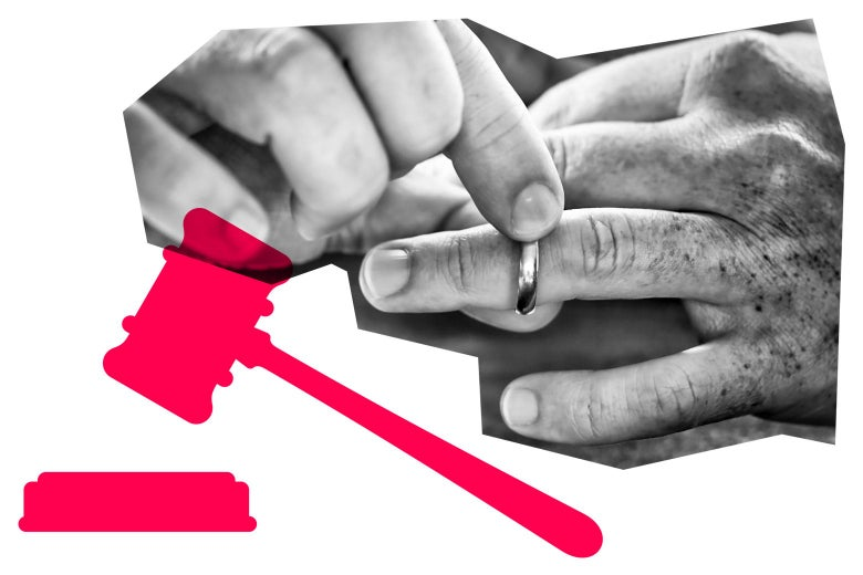 Hand taking off a wedding ring, and a graphic of a gavel.