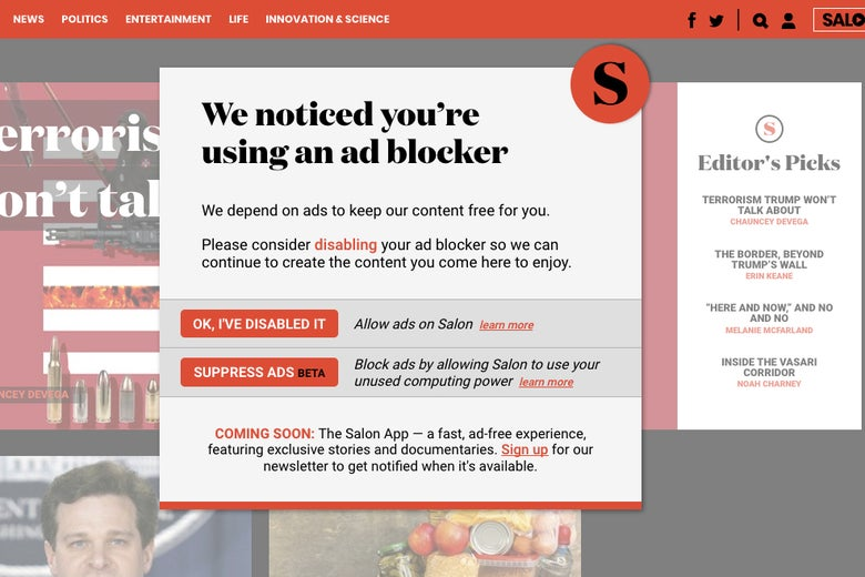 "Salon's offer to mine cryptocurrency, that reads at top ""We notice you're using an ad blocker."""