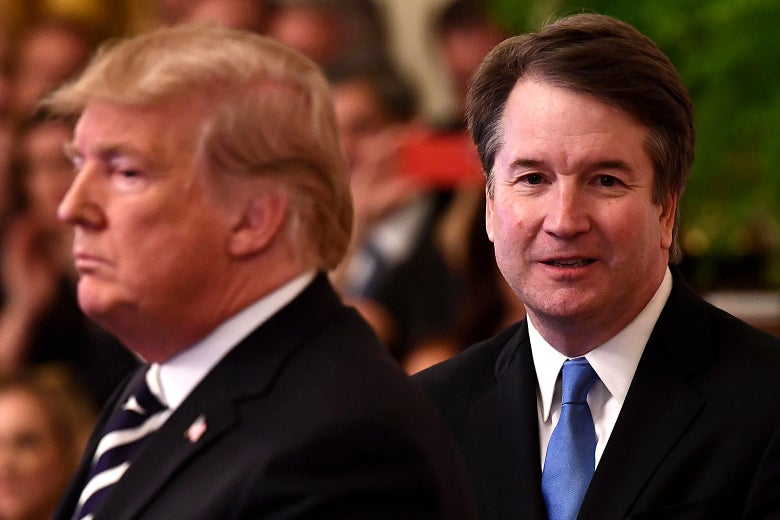 Donald Trump participates in the swearing-in ceremony of Brett Kavanaugh as Associate Justice of the U.S. Supreme Court at the White House on Oct. 8, 2018.
