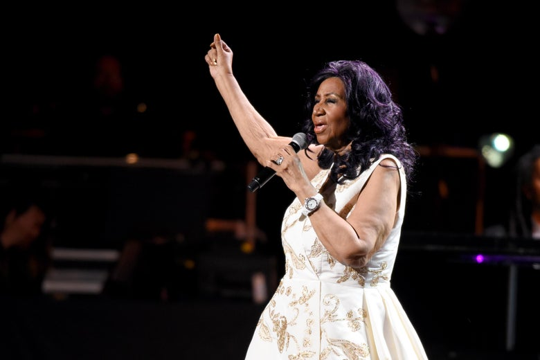 Aretha Franklin performs onstage during the 'Clive Davis: The Soundtrack of Our Lives' Premiere Concert.