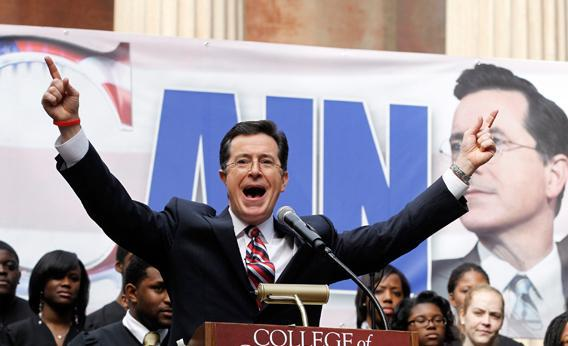 Stephen Colbert hosts a South Carolina primary rally with former Republican Presidential candidate Herman Cain, at the College of Charleston, South Carolina, January 20, 2012.