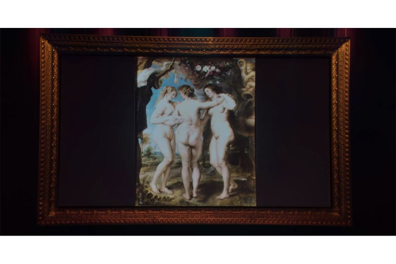 A projection screen showing Rubens' painting of the Three Graces, wrapped in an ornate frame.