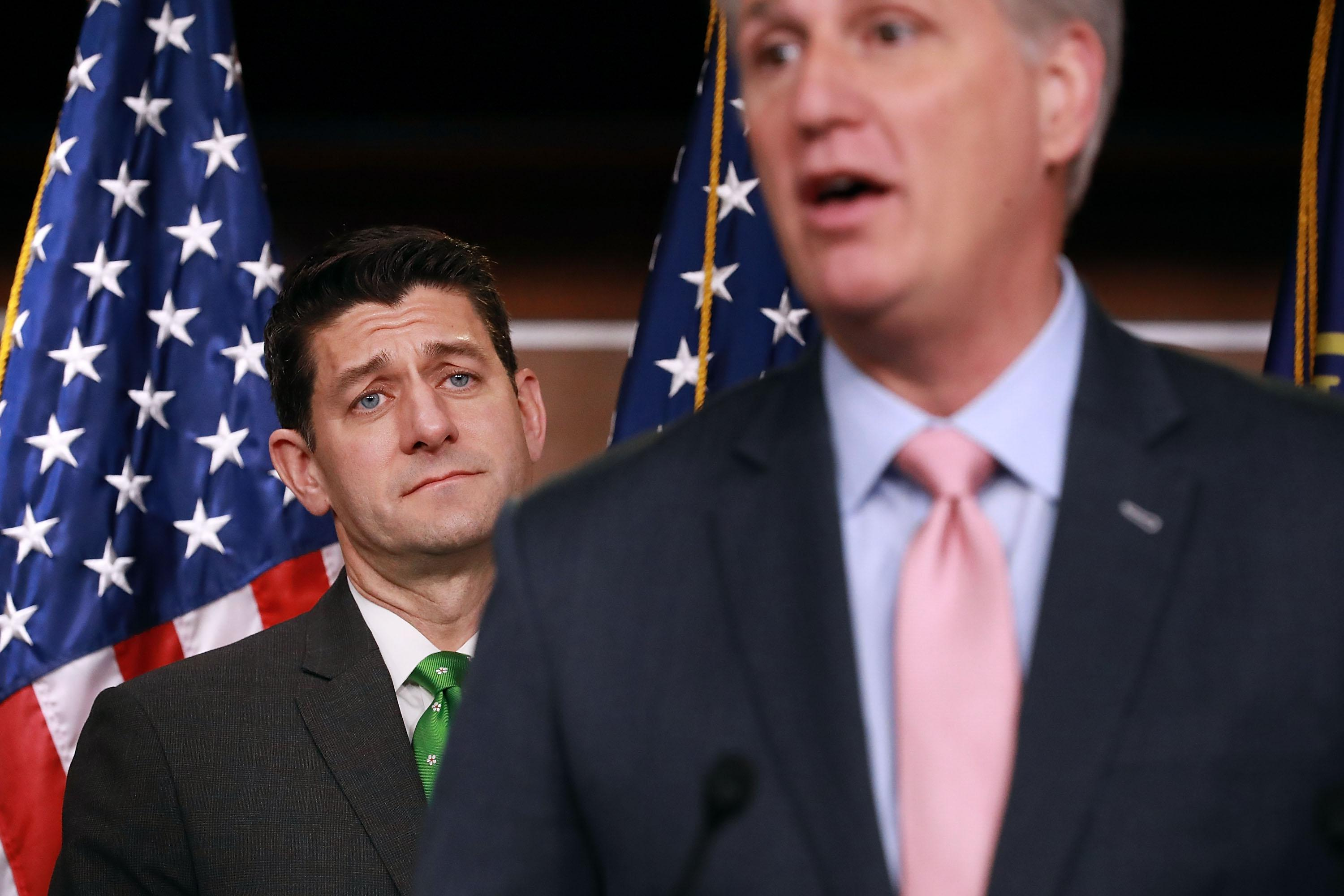 Speaker of the House Paul Ryan, left, and House Majority Leader Kevin McCarthy