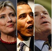 Hillary Clinton, Barack Obama, and John McCain