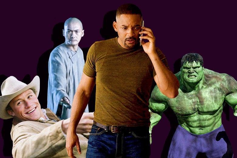Heath Ledger in Brokeback Mountain, Chow Yun-Fat in Crouching Tiger, Hidden Dragon, Will Smith in Gemini Man, and Eric Bana in Hulk.