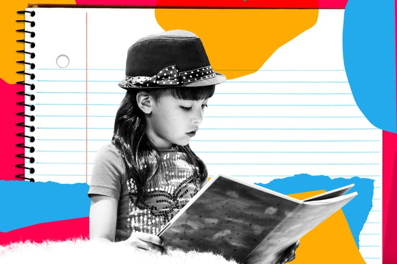 Girl wearing a fedora and sequined shirt reading a book