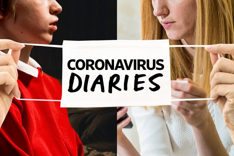 """Left, a young boy. Right, a woman holds a phone, brow furrowed. In the foreground, a pair of hands stretches a white mask with the words """"Coronavirus Diaries"""" on it."""