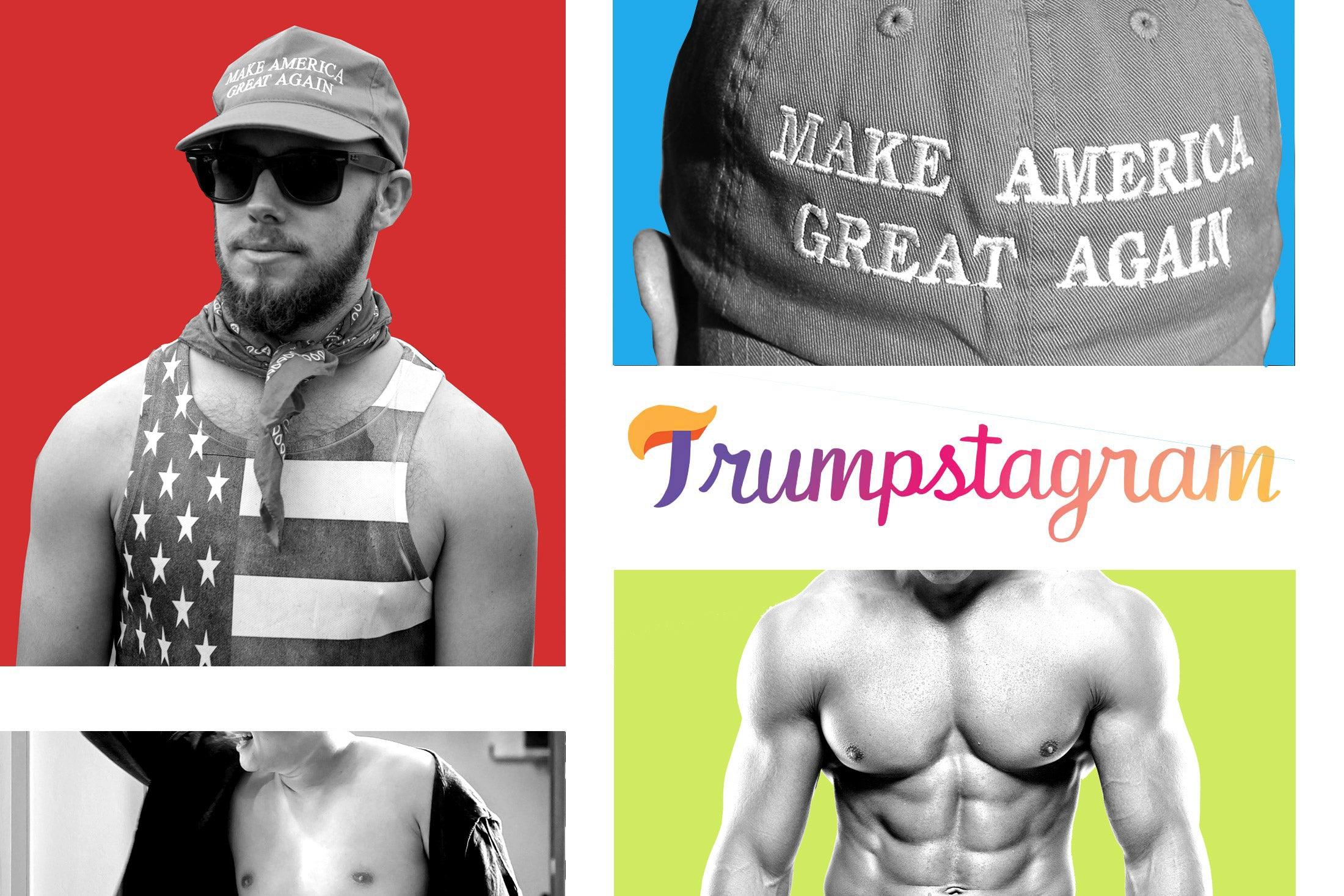 Photo illustration: Shirtless men, a MAGA hat, and the Trumpstagram logo.