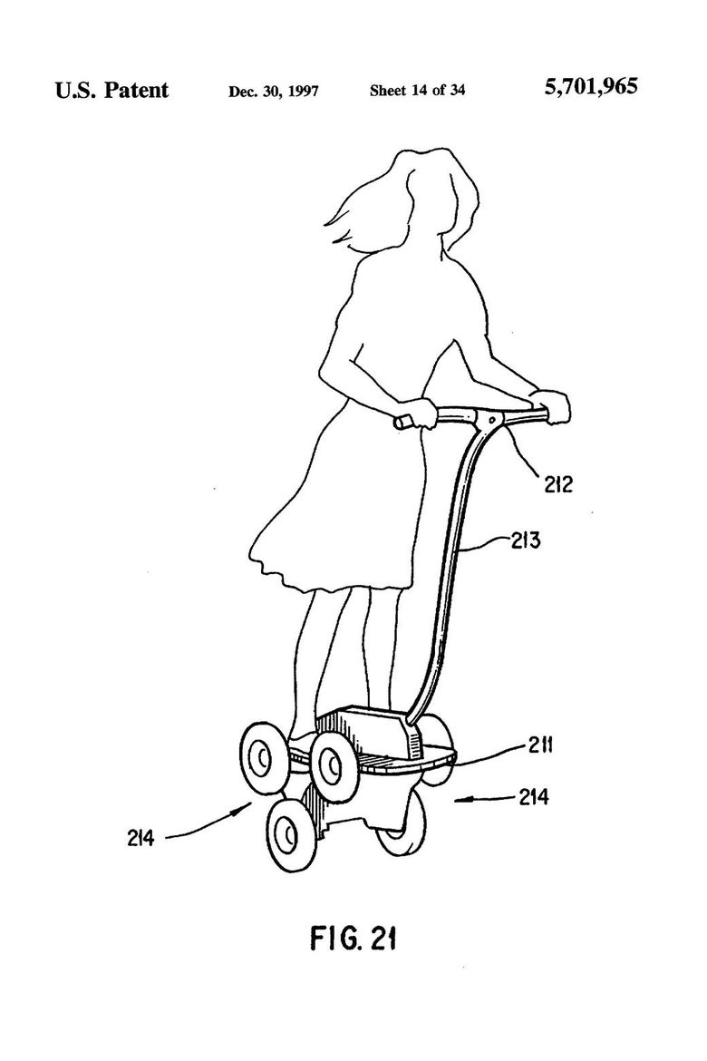 A patent application drawing of a woman on a scooter.