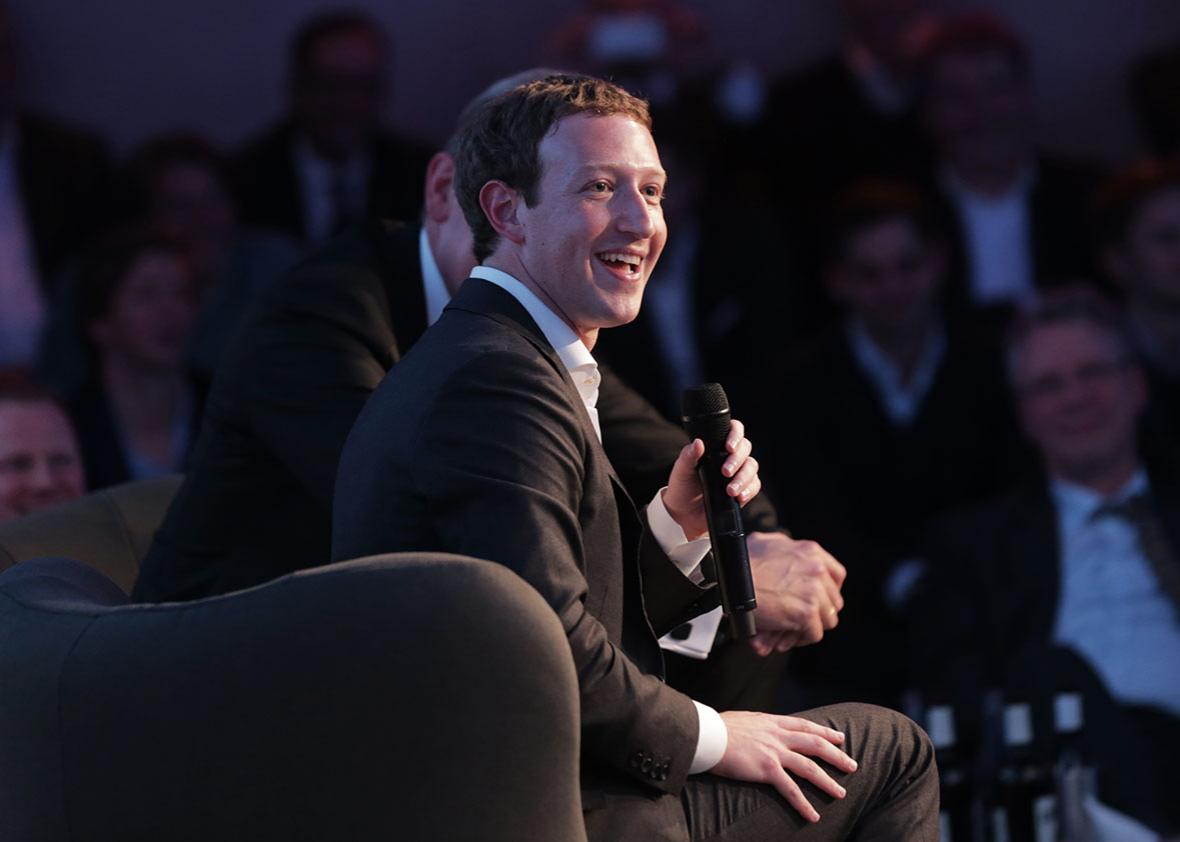 Facebook founder and chief Mark Zuckerberg receives the Axel Springer Award in Berlin on February 25, 2016.