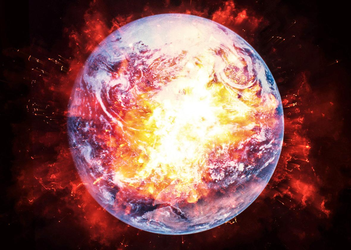 Satellite view of planet Earth, exploding through the aid of artist's interpretation.