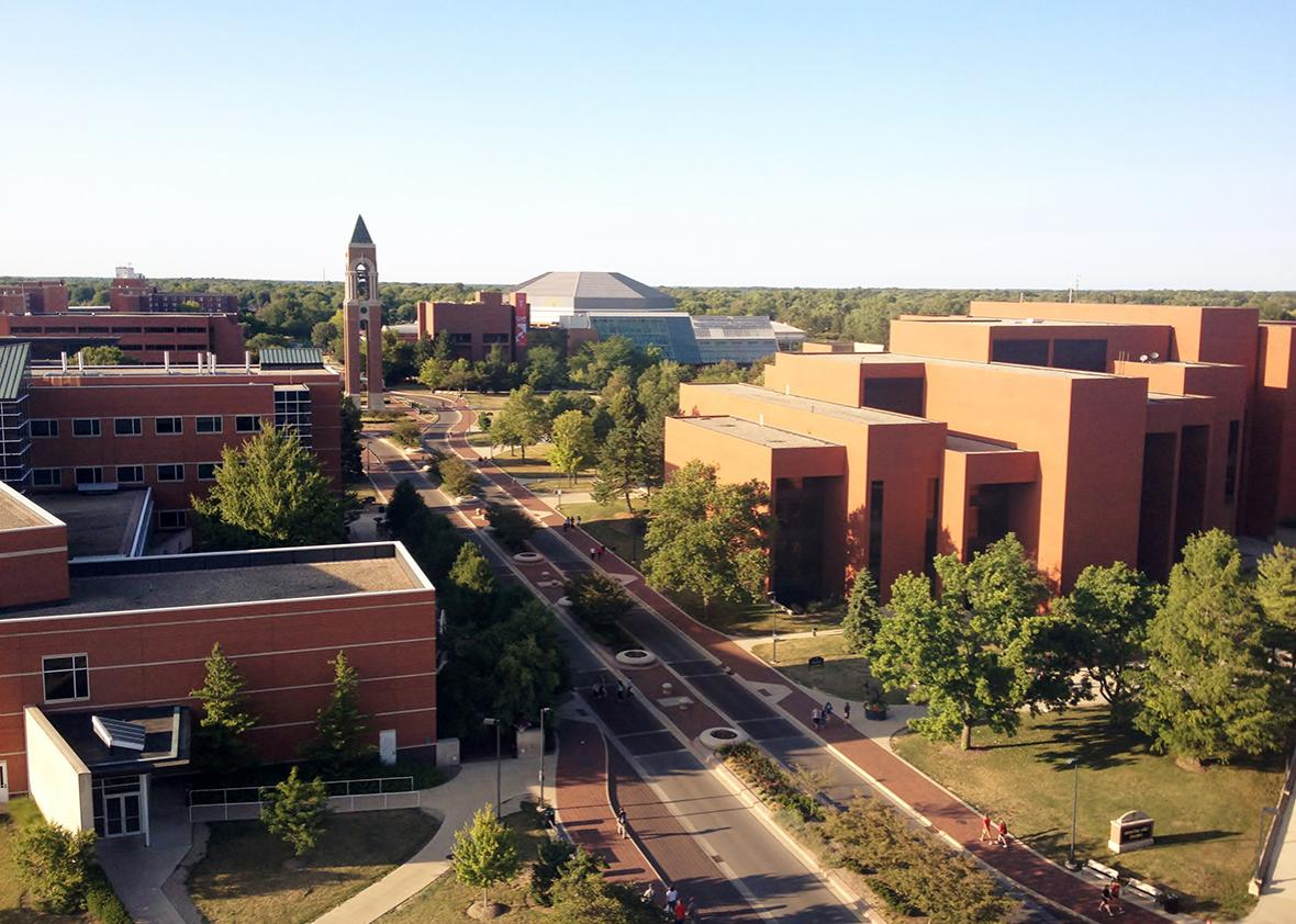 View of the McKinley Avenue corridor as it cuts through Ball State University.