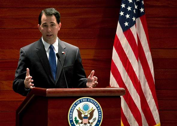 Wisconsin Governor Scott Walker at the U.S. Embassy April 15, 2013 in Beijing, China.