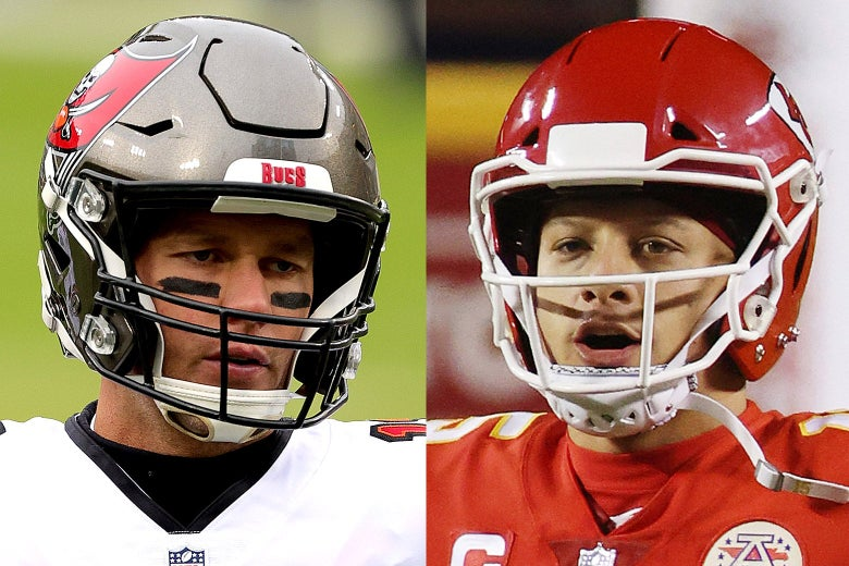 Side-by-side photos of Tom Brady and Patrick Mahomes wearing helmets on the field