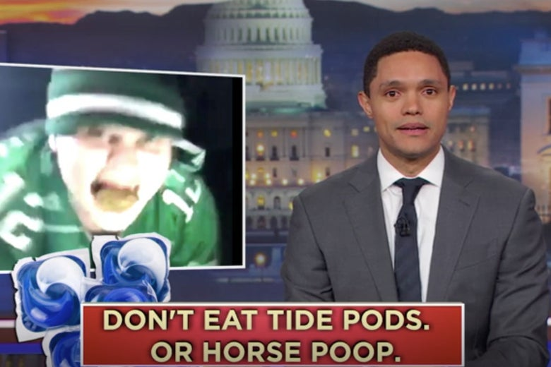 Trevor Noah suggests the guy who ate horse poo during the riots may need to eat a Tide Pod.