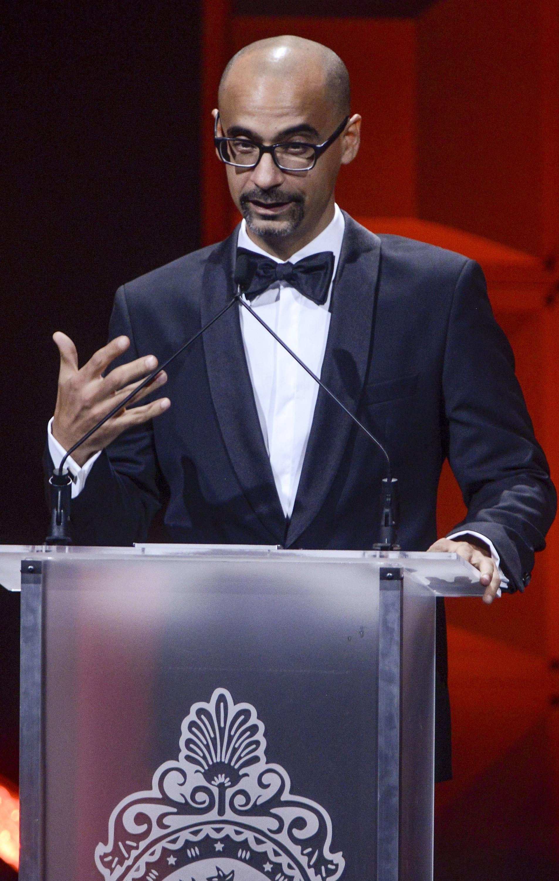 Junot Diaz receives a Literature Award during the 29th Hispanic Heritage Awards at the Warner Theatre on September 22, 2016 in Washington, DC.