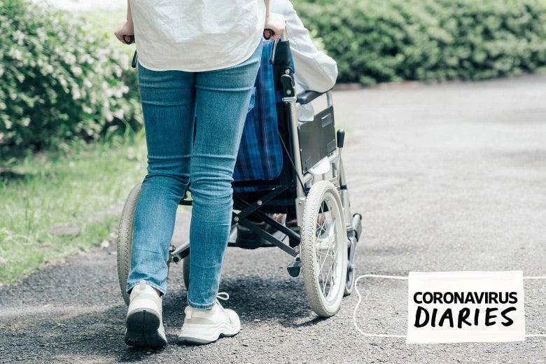 a person pushing a wheelchair