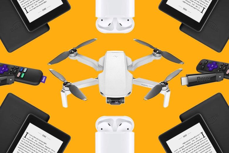A kaliedoscope arrangement of an Amazon kindle, Apple AirPods, a Roku stick and a DJI drone.