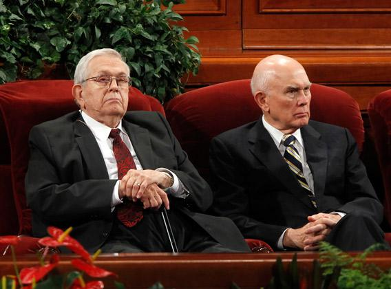 Boyd Packer, left, and Dallin Oaks, right, Apostles of the Church of Jesus Christ of Latter-day Saints, wait for the start of the first session of the 181st Semiannual General Conference in Salt Lake City, Utah.