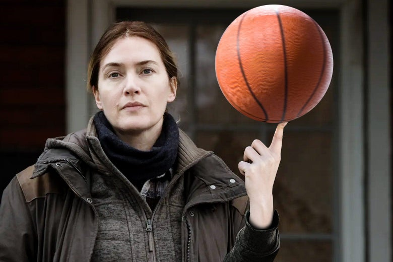Kate Winslet as Mare photoshopped spinning a basketball on her index finger