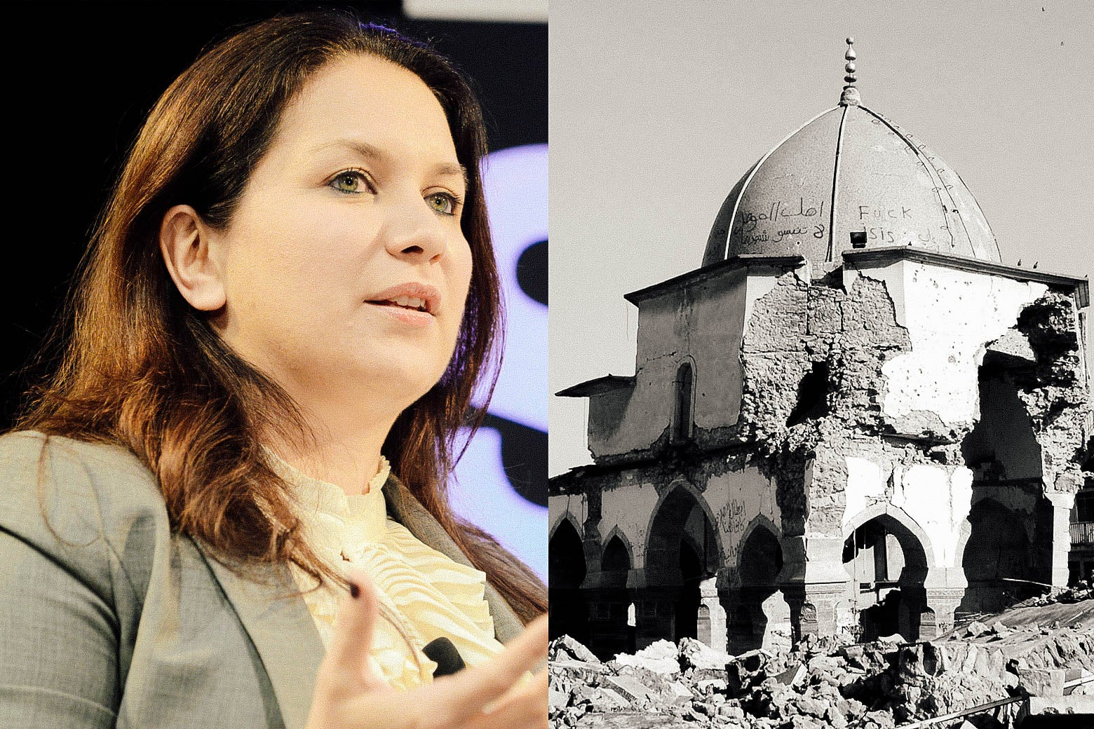 Rukmini Callimachi and Middle Eastern ruins.