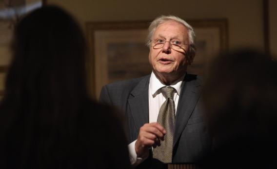 Sir David Attenborough addresses the audience at the opening of an exhibition of Edward Lear's artwork in the Ashmolean Museum on Sept. 19, 2012 in Oxford, England.