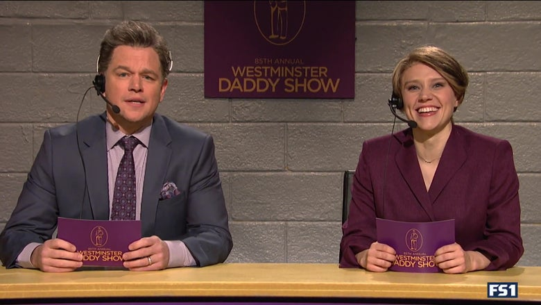 "Matt Damon and Kate McKinnon sit on the announcer podium for the Westminster Daddy Show. ""Srcset ="" https: //compote.slate. com / images / eb0e3af9-7caf-4ebe-a7f3-2e93f3e148ee.jpeg? width = 780 & height = 520 & rect = 1620x1080 & offset = 157x0 1x; ? width = 780 & height = 520 & rect = 1620x1080 & offset = 157x0 2x"