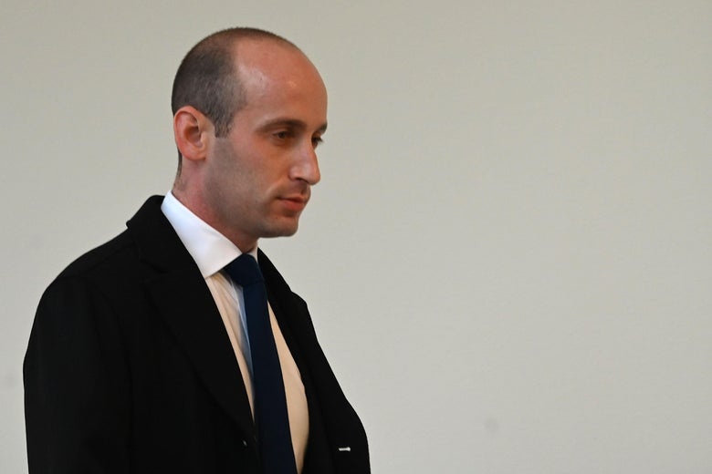 Stephen Miller, seen against a white wall and in a suit.