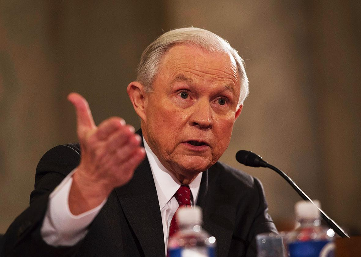Sen. Jeff Sessions, R-AL, testifies during his confirmation hearing to be Attorney General of the US before the Senate Judiciary Committee on January 10, 2017, in Washington, DC.
