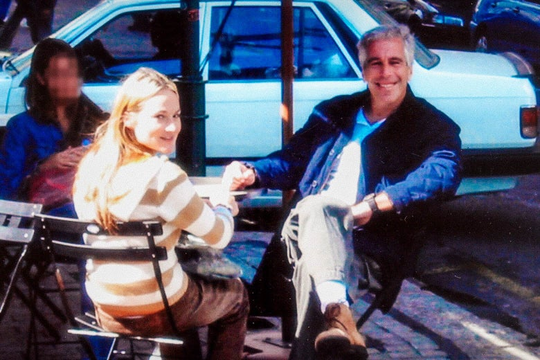 Jeffrey Epstein, smiling, seated with Chauntae Davies at an outdoor bistro table.