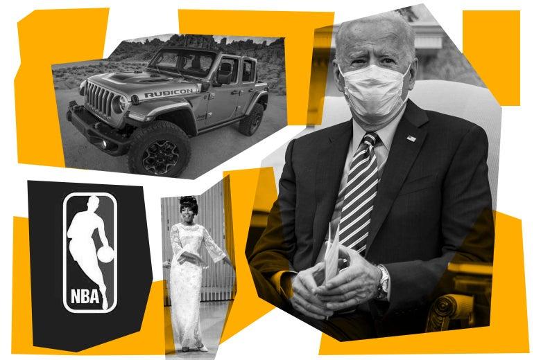 A Jeep, the NBA logo, Mary Wilson, and Joe Biden
