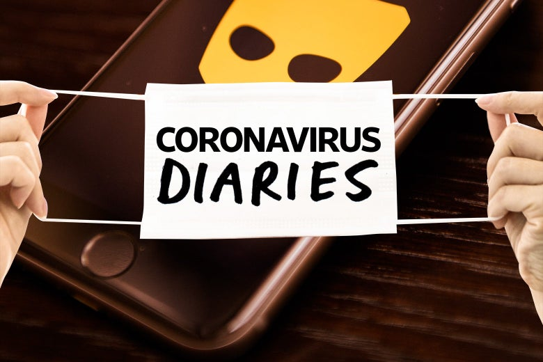 A phone with a Grindr logo on it, with a Coronavirus Diaries banner draped across it.
