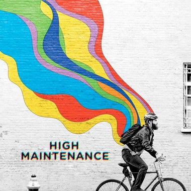 Title card for High Maintenance, featuring the main character biking with colorful graffiti behind him.