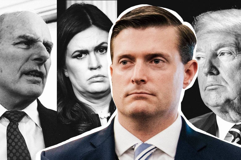 Photo illustration: John Kelly, Sarah Huckabee Sanders, Rob Porter, Donald Trump.