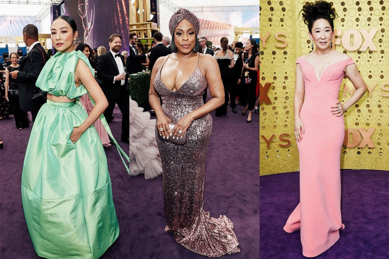 Greta Lee, Niecy Nash, and Sandra Oh on the Emmys red carpet.