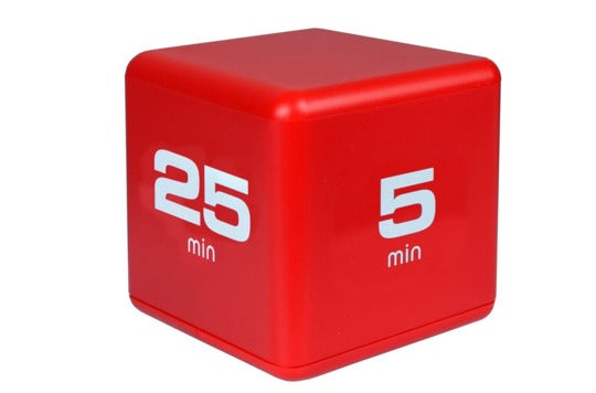 "A red box with ""25 min"" on one side and ""5 min"" on another side."