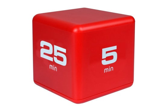 """A red box with """"25 min"""" on one side and """"5 min"""" on another side."""